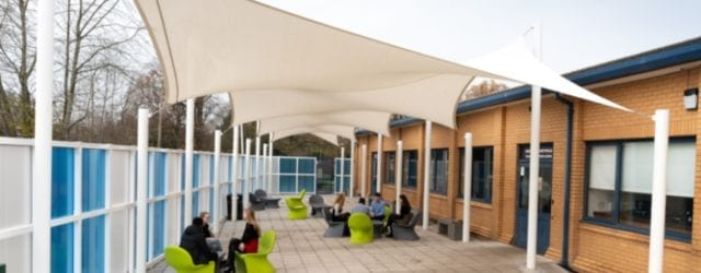 Bespoke shade sails we designed for Wilmslow High School