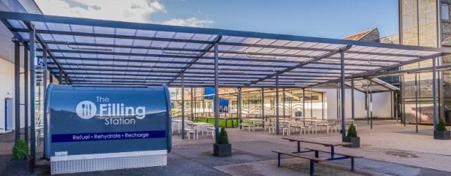 Bespoke dining shelter we designed for Whitecross High School