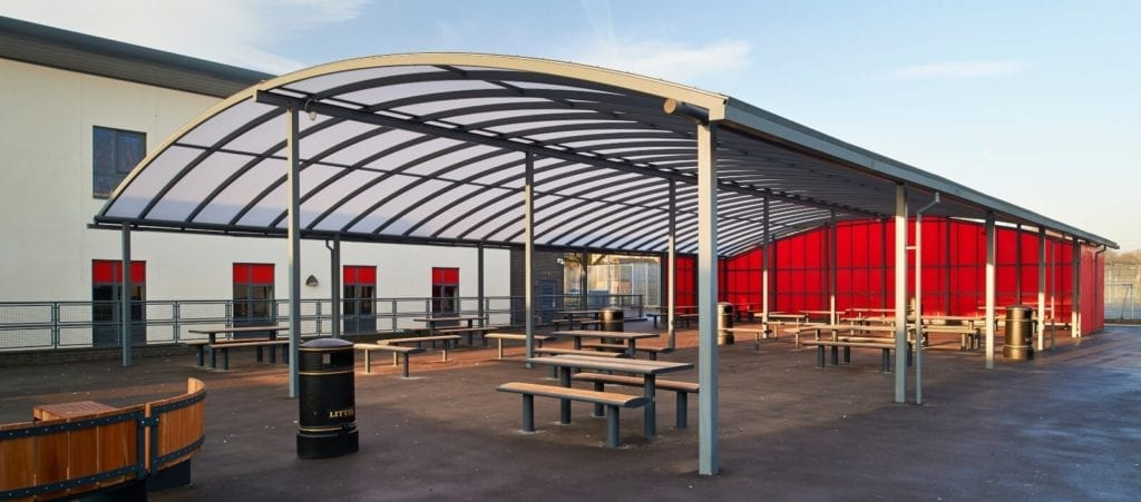 St Gilberds School Curved Roof Canopy