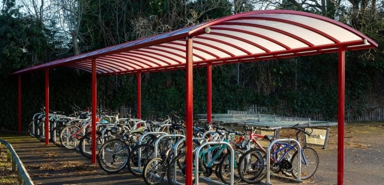 Cycle shelter we designed for Myton School
