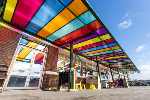 Colourful roof shelter we installed at Zaytouna Primary School