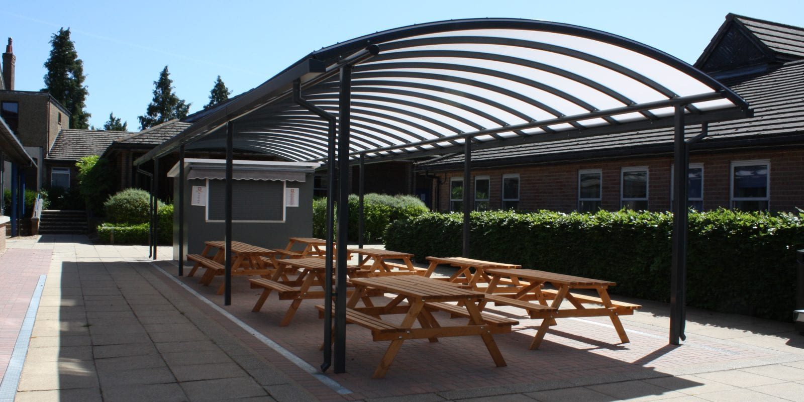 Curved roof canopy we made for Chesham Grammar School