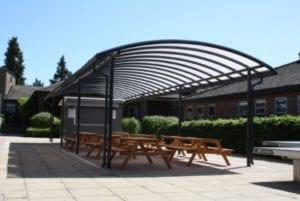 Dining shelter we designed for Chesham Grammar School