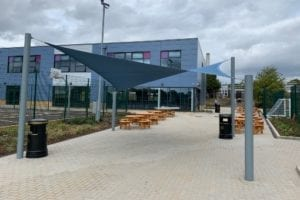 Fabric canopies we designed for Jack Hunt School