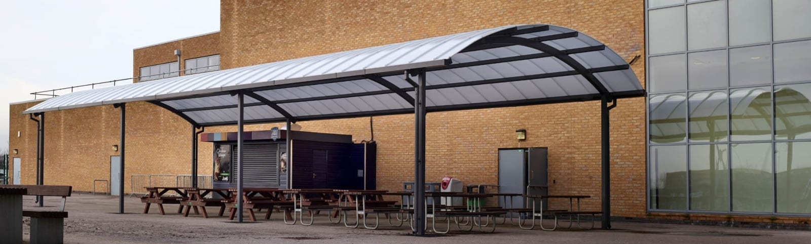 Curved roof canopy we made for Blessed John Henry Newman RC College