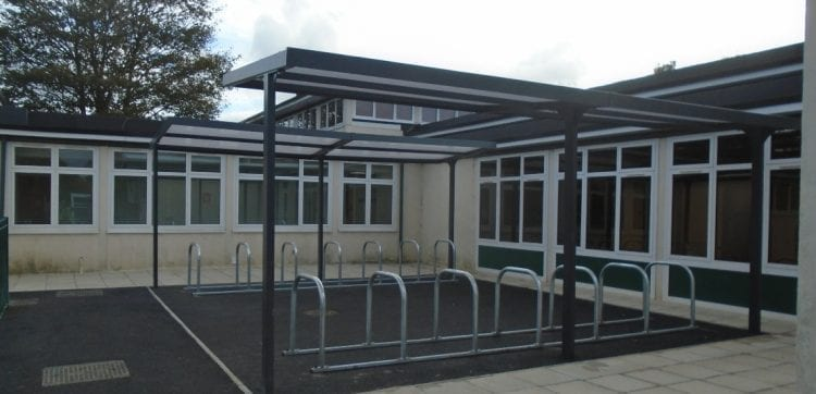 Bike shelters we fitted at Leavesden Green Primary School