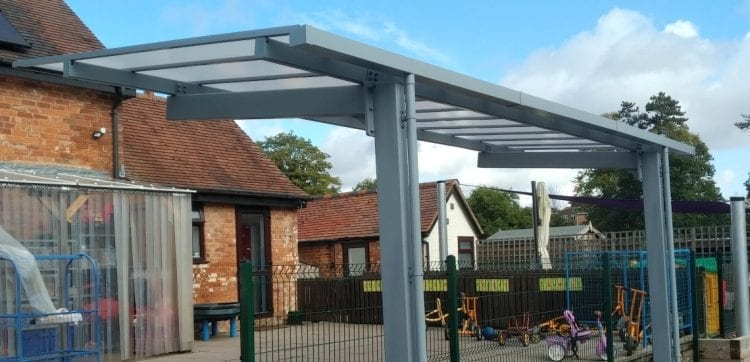 Cantilever canopy we made for Mereside Farm Children's Nursery