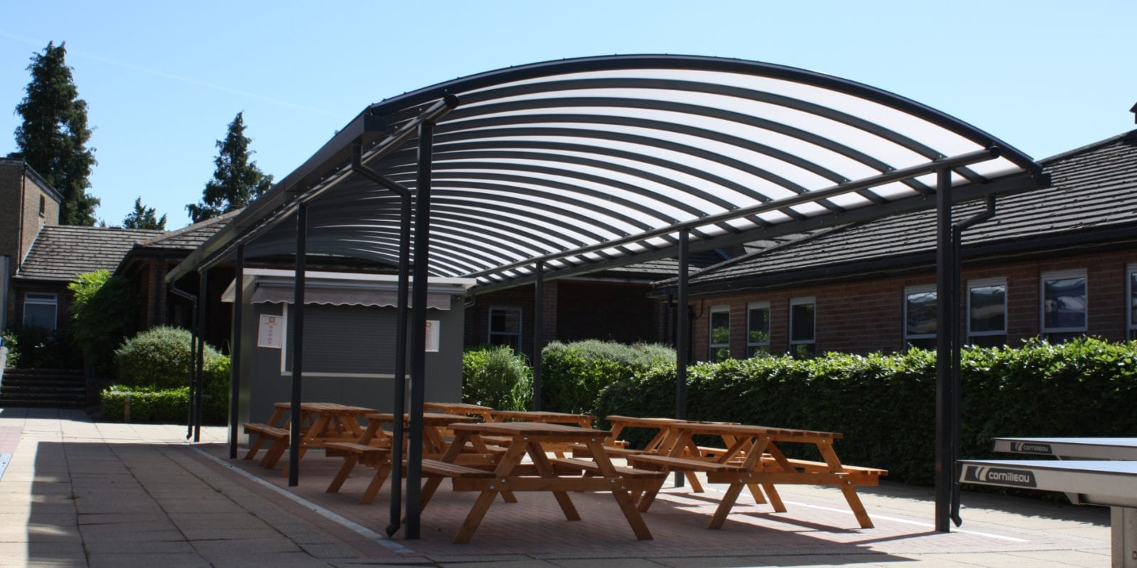 Outdoor dining shelter we fitted at Chesham Grammar School