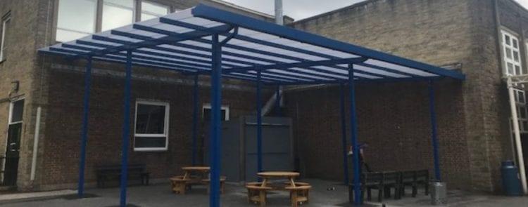 Saddleworth School Straight Roof Canopy