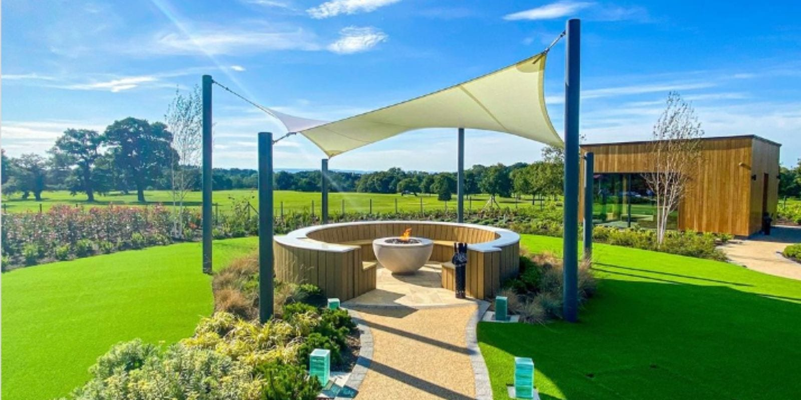 Shade sail we designed for Carden Park Hotel and Spa