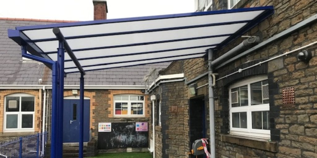 Straight roof shelter we made for St Helen's Primary School