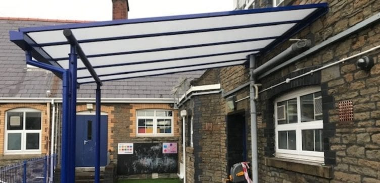 Blue canopy we designed for St Helen's Primary School
