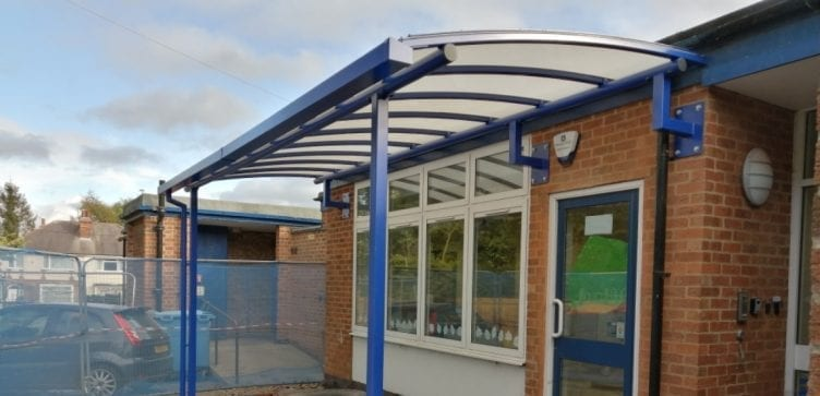 Wall mounted shelter we designed for St Peter's C of E Primary School