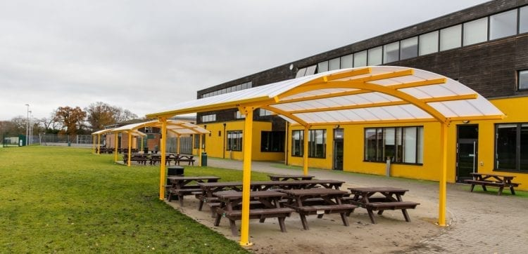 Waingels College Yellow Curved Roof Canopies