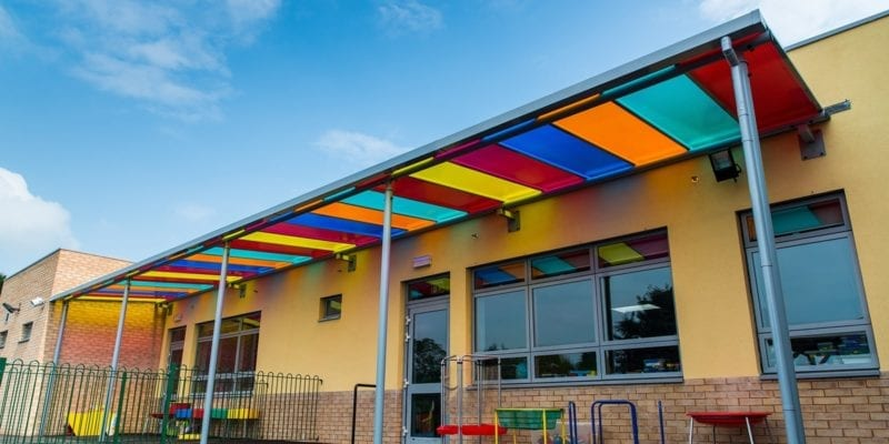 Multicoloured Roof Canopy at Ysgol Bro Teifi
