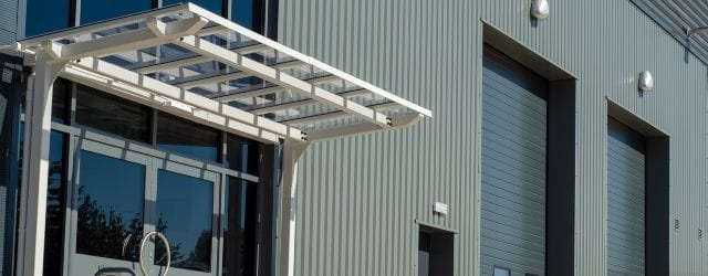 Entrance canopy we designed for Crown Industrial Estate