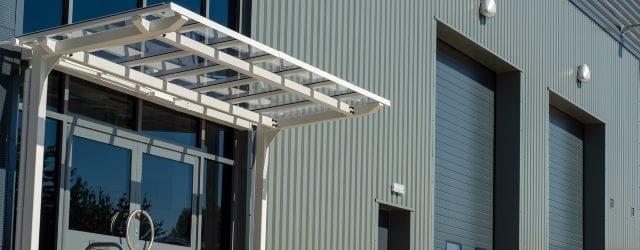 Entrance canopy we designed for Crown Industrial Estate