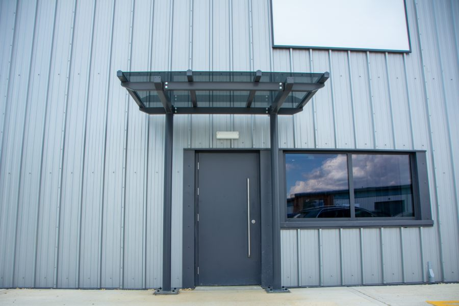 Glass Straight Roof Canopy