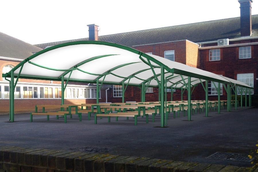 Green school canopy with fabric roof