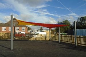 Shade sail we installed at Hugglescote Primary School