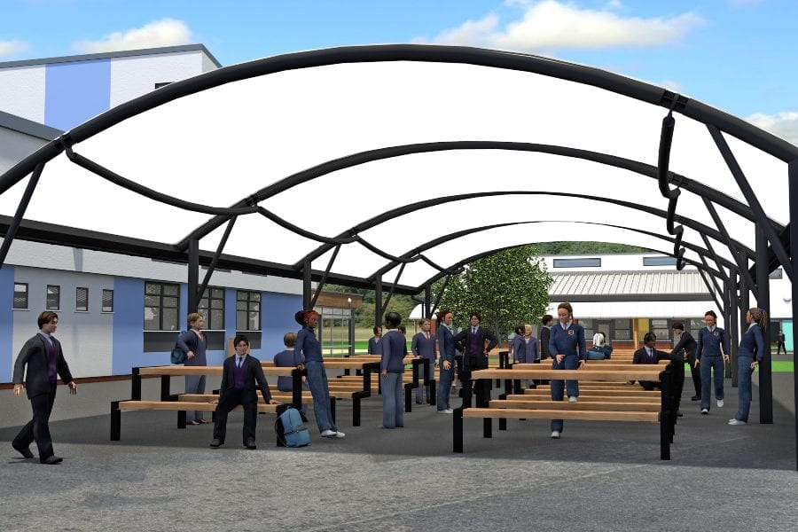School Canopy with Fabric Roof