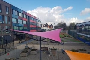 Shade sail we designed for Dunraven Academy