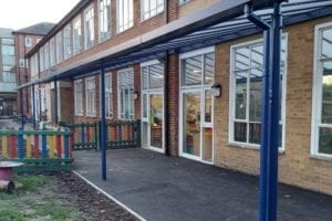 Straight roof shelter we made for Holy Trinity School