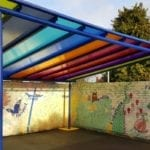Colourful shelter we designed for St Mary's CE School