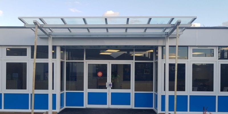 Entrance canopy we designed for Whybridge Infants School