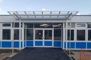 Entrance canopy we designed for Whybridge Infants School