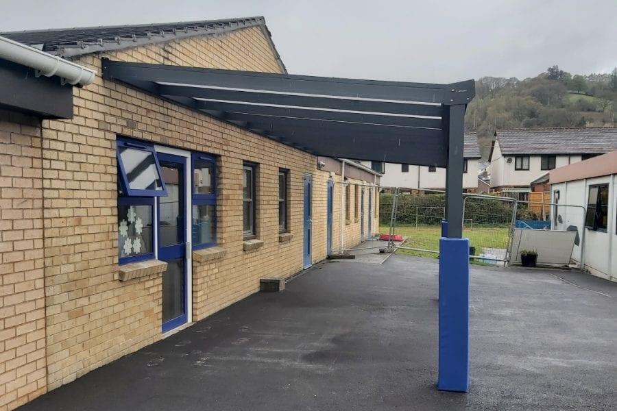 Playground canopy we designed for Ysgol Cynddelw