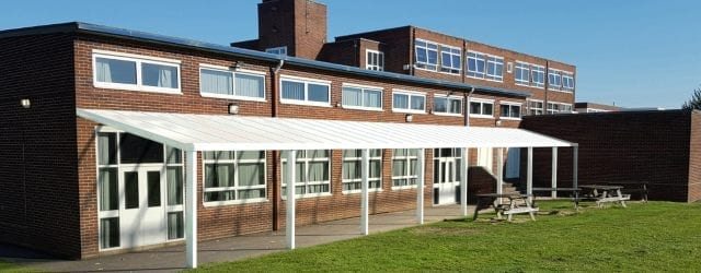 Straight Roof Shelter with White Frame