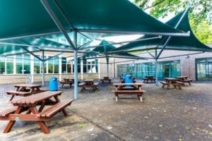 Shade sails we installed at Chiswick High School