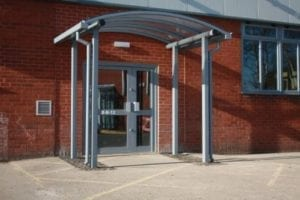 Entrance canopy we fitted at Coleg Cambria