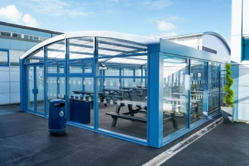 Enclosed canopy we designed for St Wilfird's School
