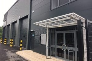 White Motiva Entrada Canopy at Crown Industrial Estate