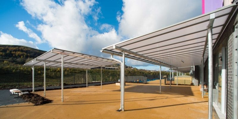 Bespoke Straight Roof Shelter we installed at Ebbw Fawr Learning Community