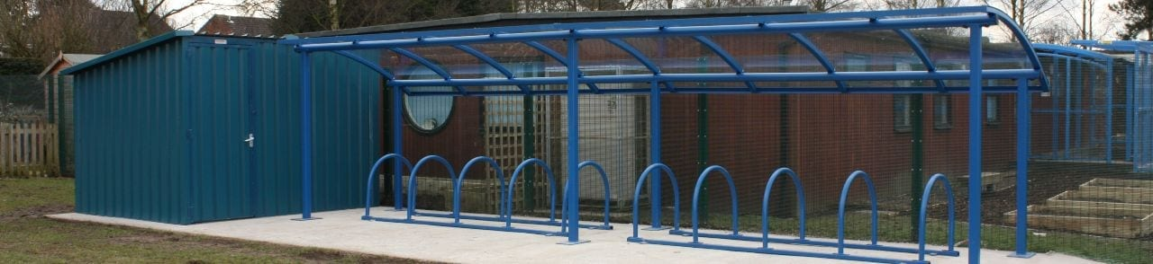 Blue School Bike Shelter