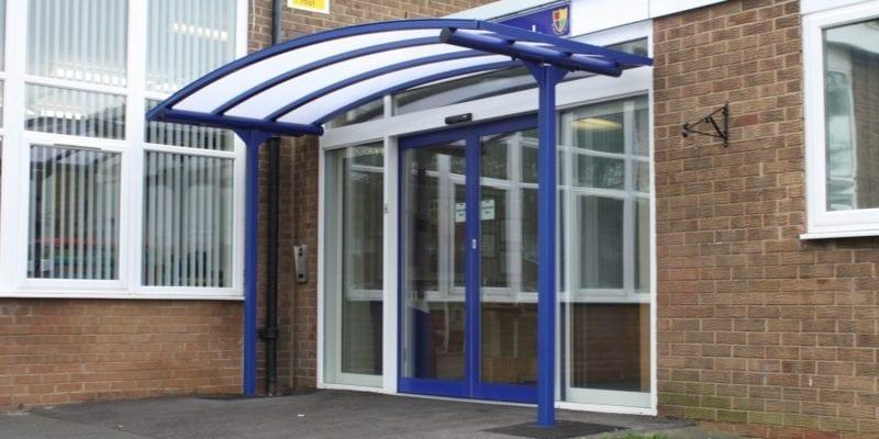 Blue School Entrance Canopy