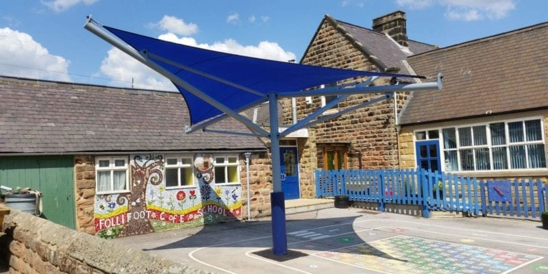 Blue School Shade Sail in Playground