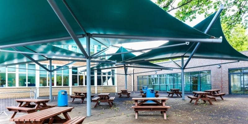 Sail shades we designed for Chiswick School