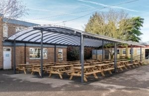 Dining shelter we installed at Cirencester College