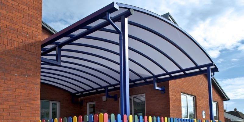 Blue Curved Roof Canopy