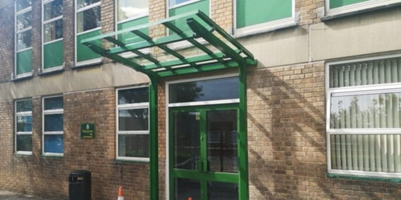Green Straight Roof Entrance Canopy