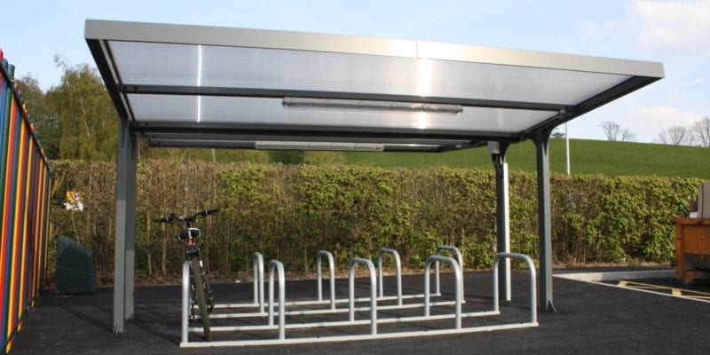 Grey Bike Shelter