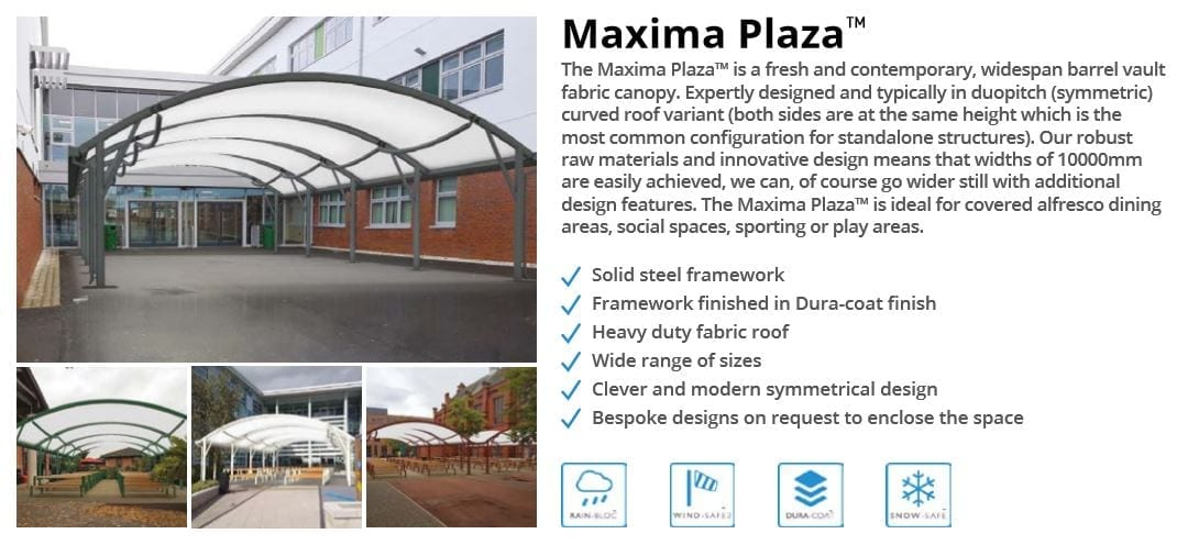 Maxima Plaza Canopy Data Sheet