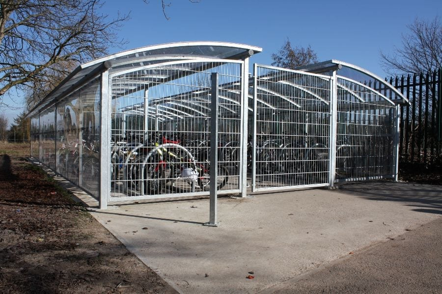 Cycle shelter we fitted for Meole Brace School
