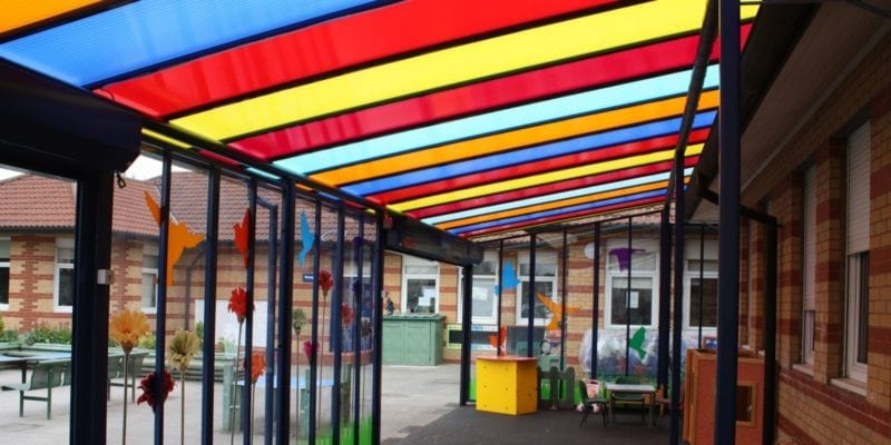 Canopy we designed for Monksdown Primary School
