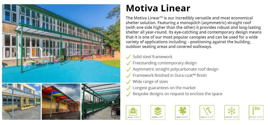 Motiva Linear Canopy Data Sheet