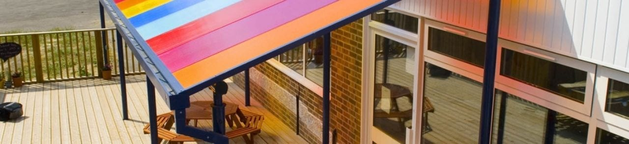 Multicoloured Polycarbonate Roof School Canopy